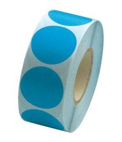Fluorsticker 25mm. Fluor Blauw